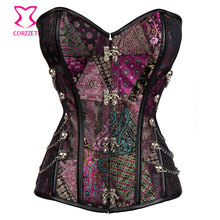 Purple Brocade Steel Boned Waist Trainer Gothic Corset Steampunk Clothing Women Corselet Plus Size 6XL Corsets and Bustiers