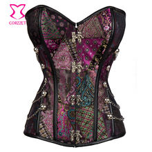 4b85ead3e5 Purple Brocade Steel Boned Waist Trainer Gothic Corset Steampunk Clothing  Women Corselet Plus Size 6XL Sexy Corsets and Bustiers