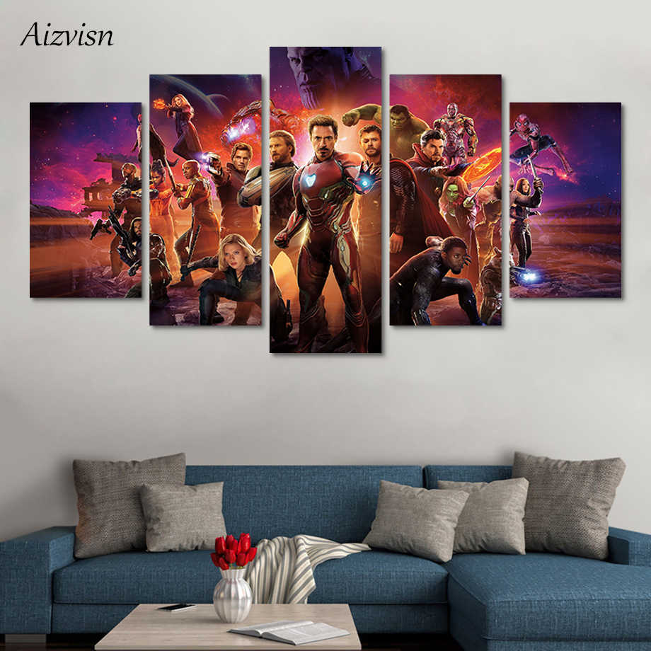 Aizvisn 5 Pieces Movie Poster Avengers Infinity War Together Wall Art Pictures Oil Painting Canvas Prints for Home Decoration