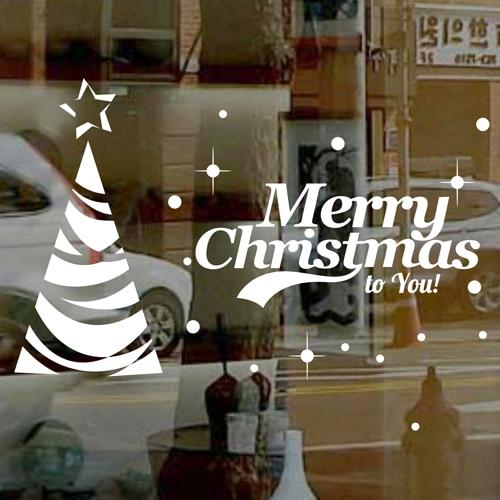 DCTAL Christmas tree glass window wall sticker decal home decor shop decoration X mas stickers xmas085