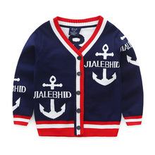 Children's clothing Anchor Pattern Baby Boy Cartoon Sweater Fall Child Casual knitted sweater single-breasted Causal Coat&Jacket