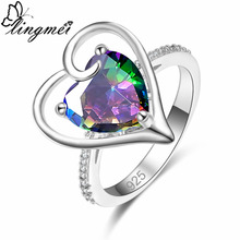 lingmei New Romantic Sweet Heart Multicolor & Royal Blue White CZ Silver Color Ring Size 6 7 8 9 Fashion Lovers Jewelry Gift