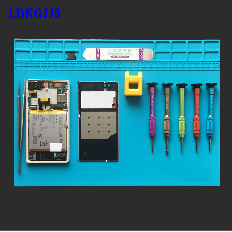Heat-resistant Soldering Mat Silicone Heat Gun BGA Soldering Station Insulation Pad Repair Tools Maintenance Platform Desk Mat 2 in 1 heat resistant soldering mat silicone insulation mat solder desk pad for bga soldering repair work station