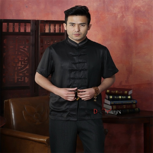 2015 Summer Black Chinese Men's Kung Fu Tops Shirt Short Sleeve Embroidery Tradition Tang Suit Size M L XL XXL XXXL 4XL