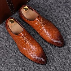 Image 3 - Zapatos formales para hombre talla 38 ~ 48, zapatos de cuero elegantes para hombre, zapatos de boda # AF3702
