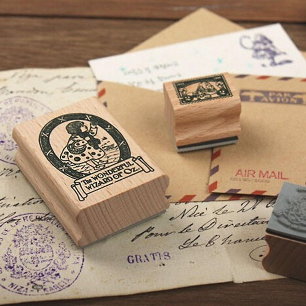 Rubber stamp craft supplies - Vintage Wooden Rubber Craft Ink Pad Alphabet Stamp Box Angel Stamps Diy Scrapbooking Card Making Decoration Supplies