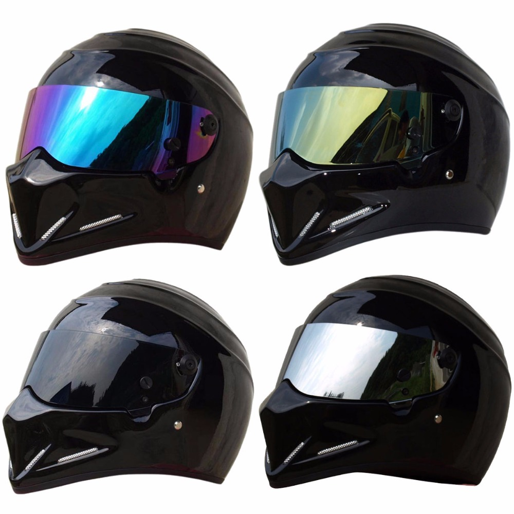 Triclicks moto mat noir brillant casques intégral Street Bandit Racing Motocross protecteur casque intégral S M L XL XXL