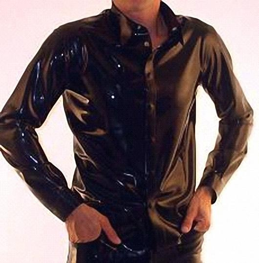 Sexy Black Men's Top Latex Shirt Turn-down Collar with Button