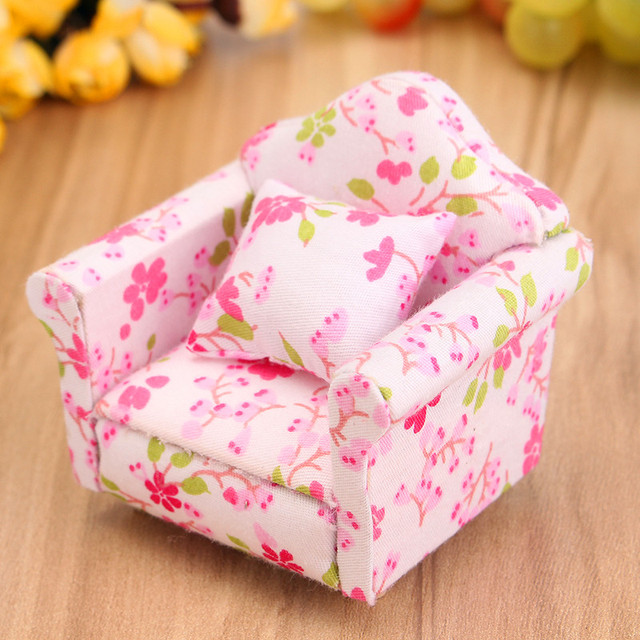 1 12 Scale Pink Floral Miniature Armchair Single Sofa Couch For