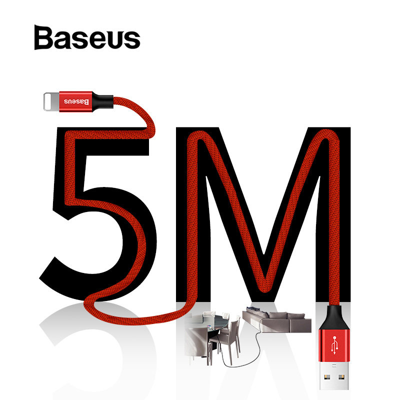 Baseus Overlength USB <font><b>Cable</b></font> for <font><b>iPhone</b></font> Xs Max Xs XR 8 Pin Fast Charging Data <font><b>Cable</b></font> for IOS 5M <font><b>3M</b></font> USB <font><b>Cable</b></font> for <font><b>iPhone</b></font> X 8 7 <font><b>6</b></font> 5 image