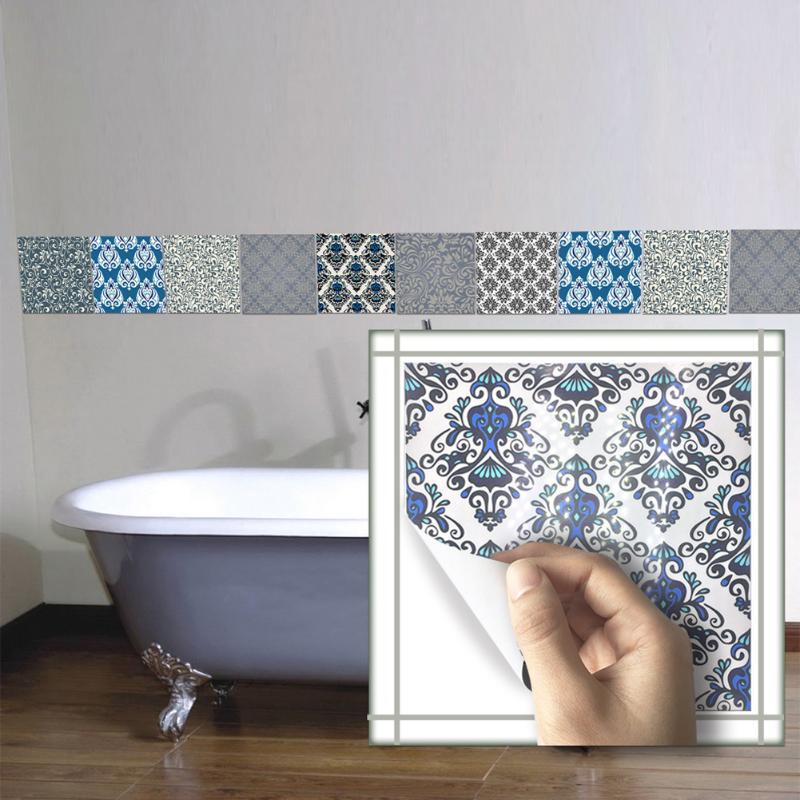 10pcs Pvc Wall Sticker Bathroom Waterproof Self Adhesive Wallpaper Kitchen Mosaic Tile Stickers