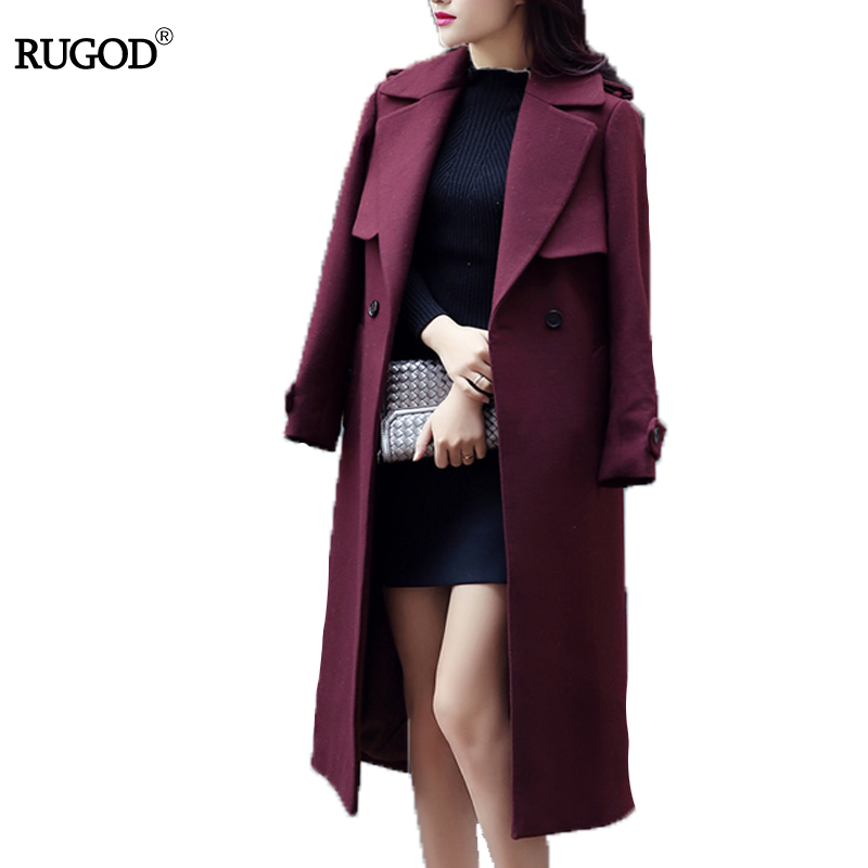 RUGOD 2018 abrigo de invierno con cinturón mujeres cálido abrigo largo de lana de las mujeres abrigo de Cachemira de la moda europea chaqueta Outwear Casaco feminino - 2