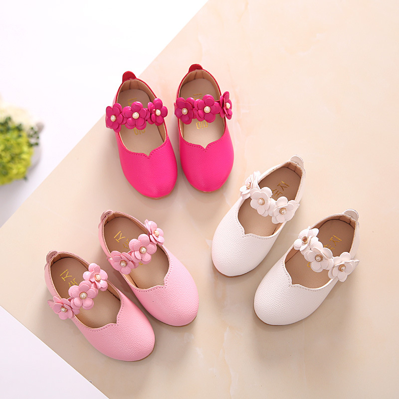White Pink Kids Baby Toddler Flower Children Wedding Party Dress Princess Leather Shoes For Girls School Dance Shoes 1-16y kids leather shoes sweet princess girls baby shoes cut outs flower shoes children rivet student dance shoes