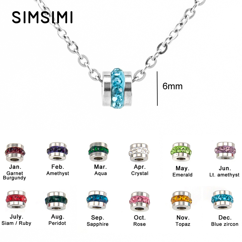 Simsimi Heart In Round Birth Stones Charm Choker For Women Jewelry Rolo Chain Necklace Stainless Steel Jewelry Collar Mujer 1 Jewellery & Watches