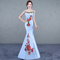 Embroidery Cheongsam Mermaid 2018 New Women's Elegant Long Gown Party Proms For Gratuating Date Ceremony Gala Evenings Dresses 4