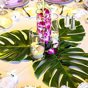 12Pcs Big Artificial Tropical Palm Leaves Silk Leaf For Hawaiian Luau Theme Party Decor Wedding Birthday Home Table Decoration(China)