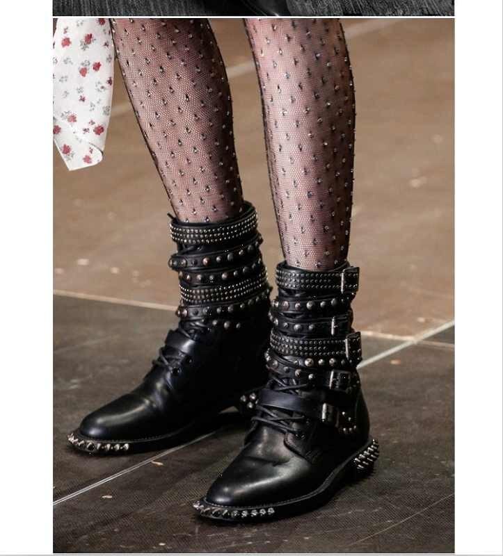 Martin Botines Hermosas Color Invierno Color Showed Tachonado Motocicleta Nuevas as Mujeres As Zapatos Up Botas Fresco Punky Militar Encaje Remaches 2017 EwqR7Xt