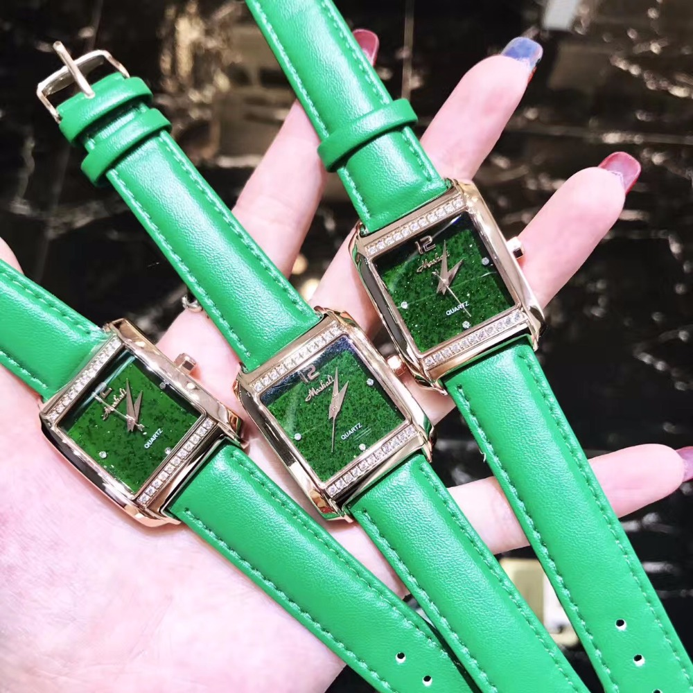 Pretty Shining Green Women Watches Fashion Vintage Square Watch Real Leather Quartz Wristwatch Crystal Relogio Montre Femme W179
