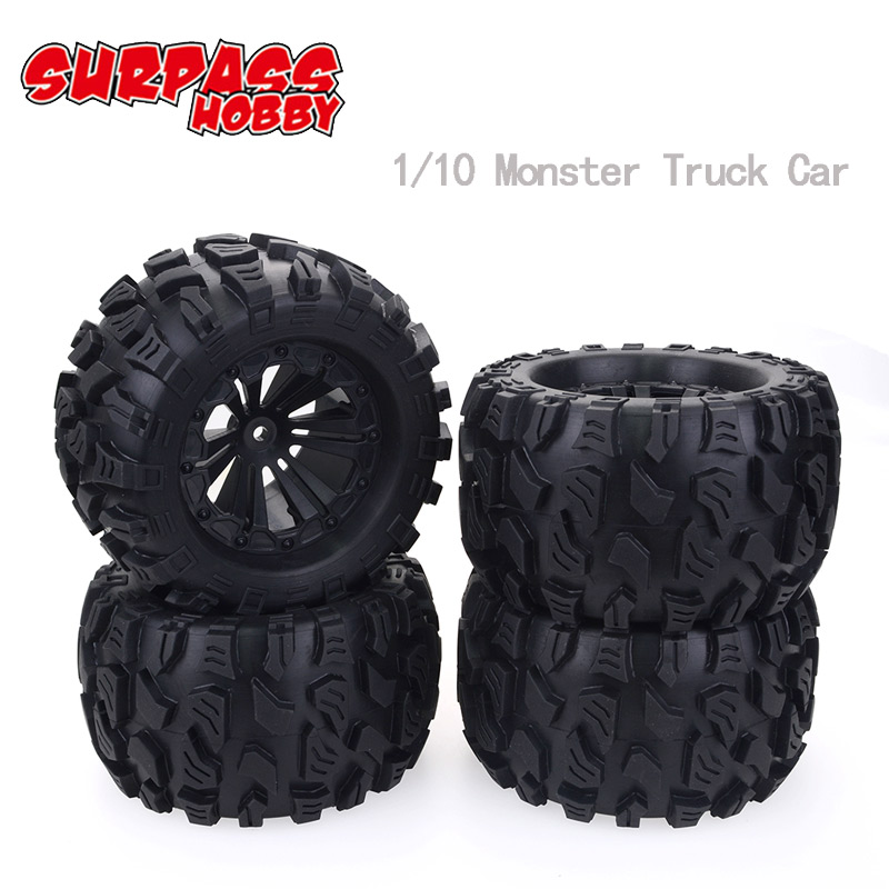 4Pcs RC Rubber Sponge Tires Tyre Rim Wheel For 1/10 Scale Models Car HSP Off Road Monster Truck 94111 94108 94188