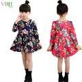 V-TREE Зимние девушки платье цветок с длинными рукавами платья детские платья для девочек сгущаться ребенка костюмы для подростков 10 12