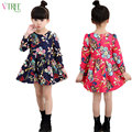 V-TREE Winter girls dress flower long-sleeved girl dresses kids dresses for girls thicken child costumes for teenagers 10 12