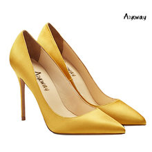 Aiyoway 2019 Women Shoes Ladies Pointed Toe High Heels Satin Pumps Autumn Spring Party Wedding Shoes Slip-On Blue Red Gold Black blue with gold wedding pumps peep toe high heels slip on stilettos party shoes 2016 new women pumps sweet bridal pump shoes