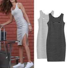 Yfashion Side Slit Stripe Bodycorn Dress Women Sleeveless Cotton Summer Dresses Fashion Sexy Slim Casual Vest Bottoming Dress casual side slit sleeveless women s midi dress