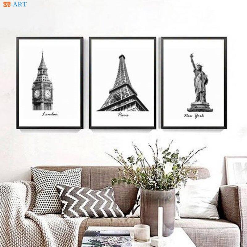 London New York Paris Wall Art