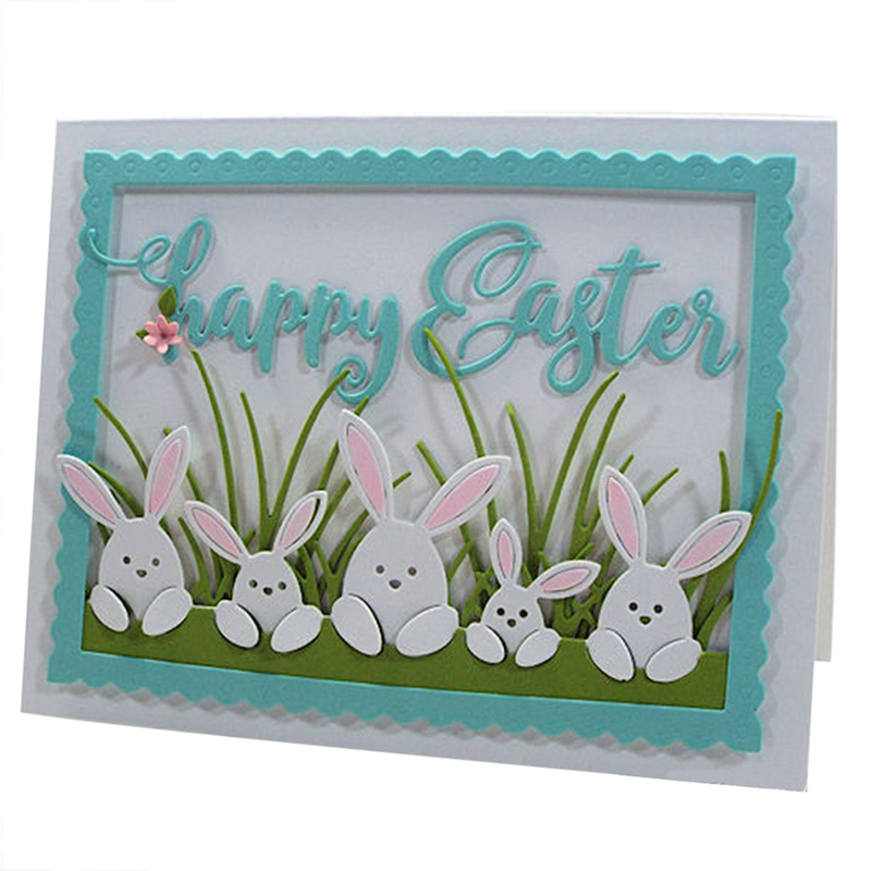 Easter Rabbit Family Metal Cutting Dies Stencils for DIY Scrapbooking Album Decorative Embossing Card Crafts Template New 2019(China)
