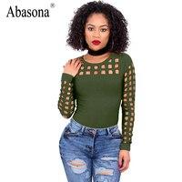 Abasona Sexy Cut Out Long Sleeve T Shirt Women Tops Fashion Female Hollow Out Summer 2017