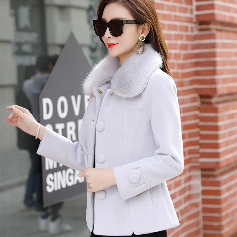 Col pink Taille Mince Couleur Nouvelle Fourrure Gray Lj052 Courte Hiver khaki Grande Femmes Manteau Solide Mode De Automne Veste Laine xHPOAO6q