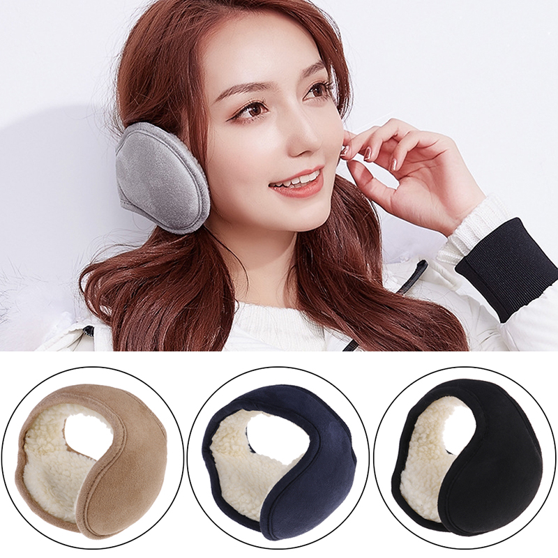Women Men Foldable Ear Muffs Winter Earmuffs Back Wear Ear Warmers Warm Plush Earflap Adjustable Ear Cover