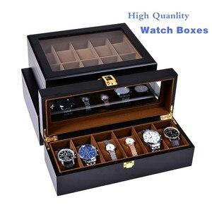 Европейские черные коробки для часов, чехол, деревянные и механические часы, кожа, органайзер, новый дисплей для часов, Подарочный чехол, дер...