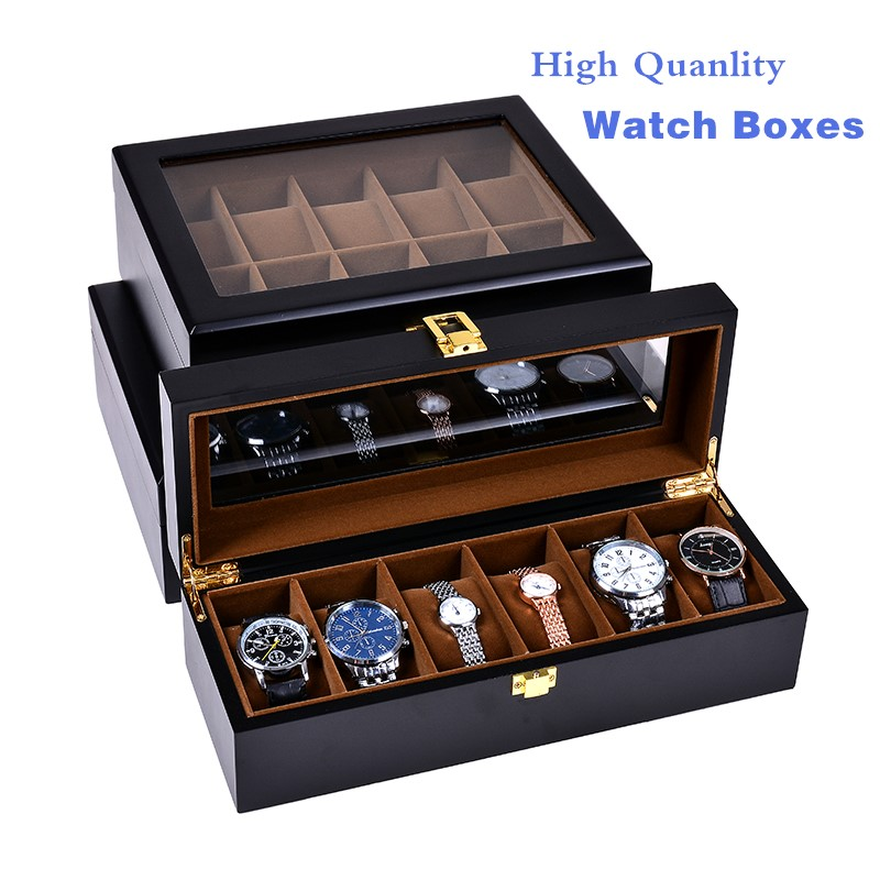 European Black Watch Boxes Case Wood And Leather Mechanical Watch Organizer New Watch Display Gift Case Jewelry Storage Holder
