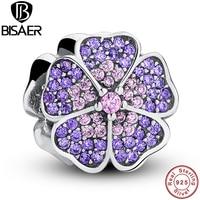 925 Sterling Silver Sparkling Primrose Pink Purple CZ Charm Fit Pandora Bracelet Jewelry Making PAS024