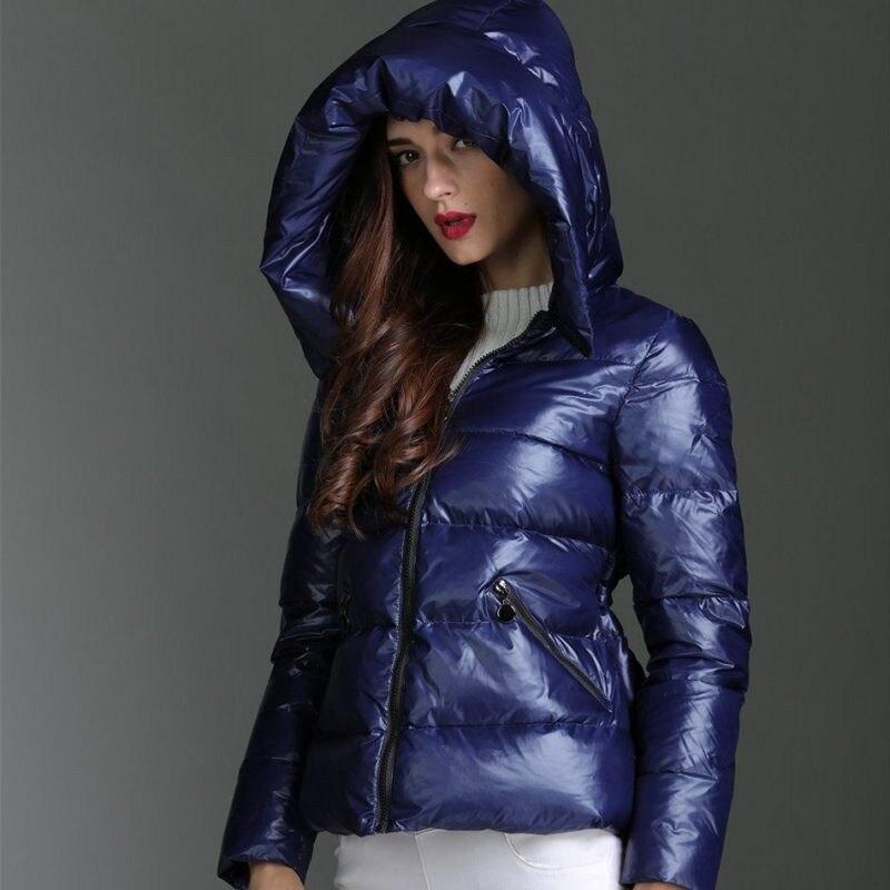 Marque bleu à capuche Slim Ultra léger vers le bas manteau femme épais chaud Zipper court 95% canard vers le bas veste hiver vêtement d'extérieur pour femmes 2019 nouveau