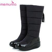 MEMUNIA 2016 New Keep Warm Fur Knee High Boots Wedges Round Toe Platform Patent Leather Down