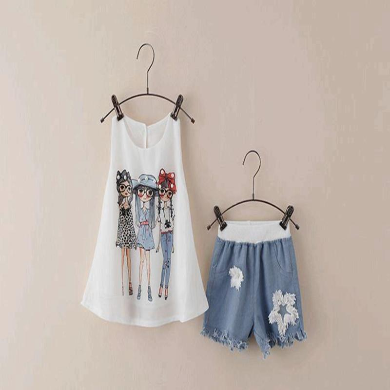 Kids Shirt Shorts 2017 Summer Girls Clothing Sets For Causal Sleeveless White Shirt + Jeans Cowboy Denim Clothes Suit 3-7 Years