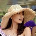 Al por mayor Y Al Por Menor Mujeres de La Manera Grande Ancho Brim Floppy Summer Beach Sun Sombrero de Paja Con el Arco Grande