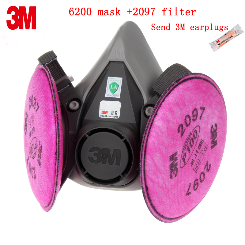 3M 6200+2097 respirator mask Genuine packaging 3M respirator dust mask against Oily particles glass fiber dust protective mask 3m 9332 ffp3 respirator dust mask folding cold flow valve respirator mask for particles dust flu virus n99 filter mask