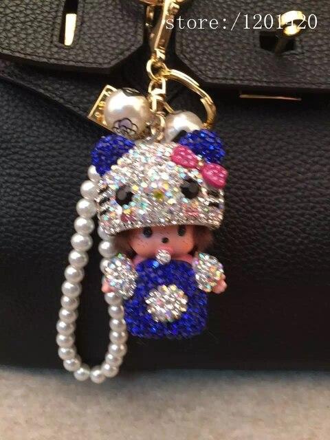 Brillante Cadena de La Perla Del Gatito de dibujos animados Monchhichi encanto del bolso llavero de Cristal Monchichi muñeca bolso Del Brillo Del Encanto regalo de la muchacha