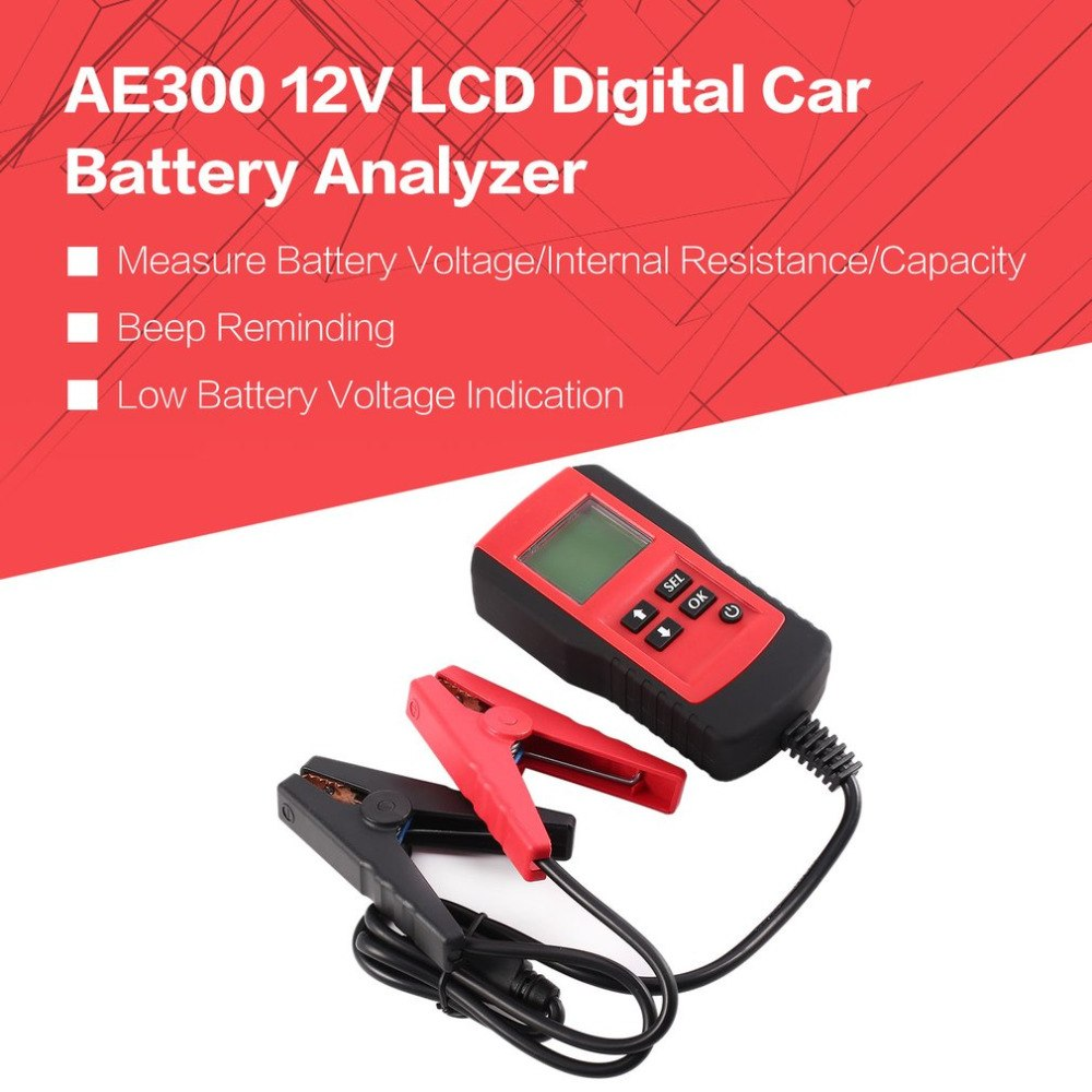 AE300 12V LCD Automotive Vehicle Digital Car Battery Auto System Analyzer Battery Voltage ohm Tester Diagnostic Tool RED mini voltmeter tester digital voltage test battery dc 0 30v red blue green auto car