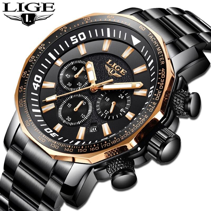 Mens Watches LIGE Top Brand Luxury Men's Waterproof Military Sports Watch Men's Stainless Steel Quartz Clock Relogio Masculino