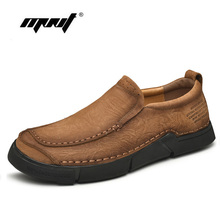 High Quality Cow Leather Casual  Men Shoes Loafers Slip On Comfortable Flats Shoes Handmade Plus Size Outdoor Shoes Men стоимость