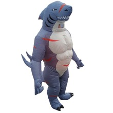 Inflatable Shark Costume for Adults Cartoon Halloween Carnival Cosplay Party Fancy Dress Men Women Birthday Blow Up Outfits chicken inflatable rooster rider costumes for adults halloween carnival cosplay party fancy dress women men birthday outfits red