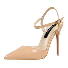D&Henlu ankle strap sandals women shoes hasp high heels Pointed stiletto pupms Patent leather sexy summer  for party wedding