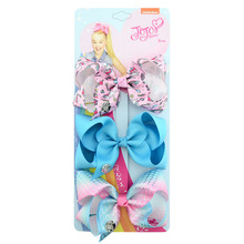 3PCS/Lot JoJo Siwa Bows Handmade 4.5Inch with Unicorn and Rainbow pattern Beautiful Hair Bow Accessories Best Present For Girls