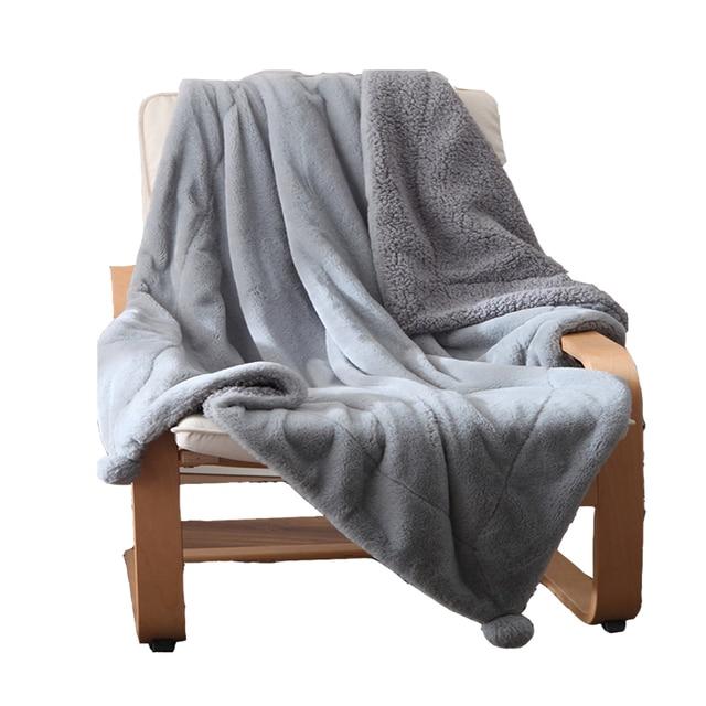 Super Soft Rabbit Fur Mink Blanket For Sofa Chair Bed Gray Pink White Mink  Blankets Portable