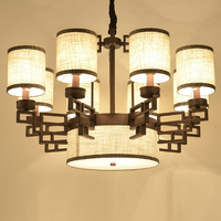 Chinese style Villa lighting 9/11 heads chandelier restaurant chandelier copper iron bedroom modern retro lamps ZA81817
