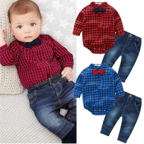 ba0c8b927 2PCS Set New Kids Baby Boy Romper Jumpsuit Tops+Jeans Pants Gentleman Outfits  Children Clothes Set-in Clothing Sets from Mother & Kids on Aliexpress.com  ...